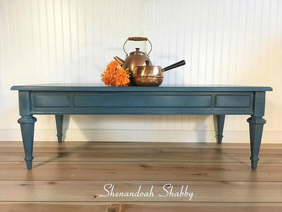 Vintage Painted Coffee Table Painted With Blue Chalk Paint