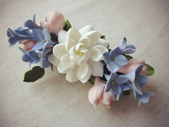 Hair barrette polymer clay flower. Flower arrangement of gardenia ...