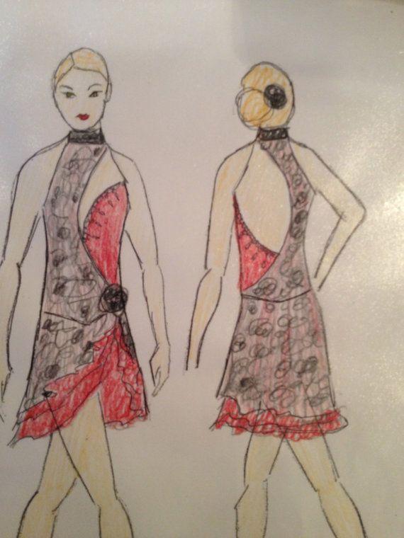 Custom Ice Dancing Dress/Tango/Paso Doble Ice dance Dress/ Tango Ice dance dress/ Paso Doble Ice dance dress/Paso doble dance costume