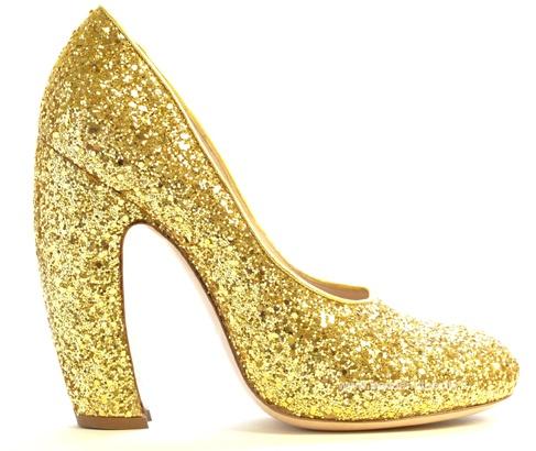 Miu Miu glitter pumps. I looove the curved heel.