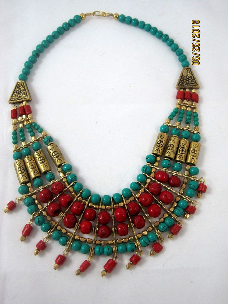 Multi Color / Texture/ Brass Necklace NEPAL / TIBET 18 inches Hand Crafted
