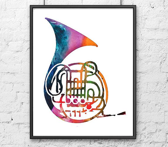Music Art Print French Horn Brass Instrument by Thenobleowl