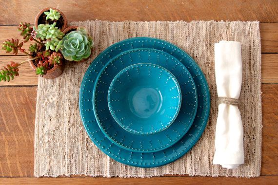 Dark Teal Dinnerware Set - Dinner Salad Dessert Bread Plate and Bowl - 3 Piece…
