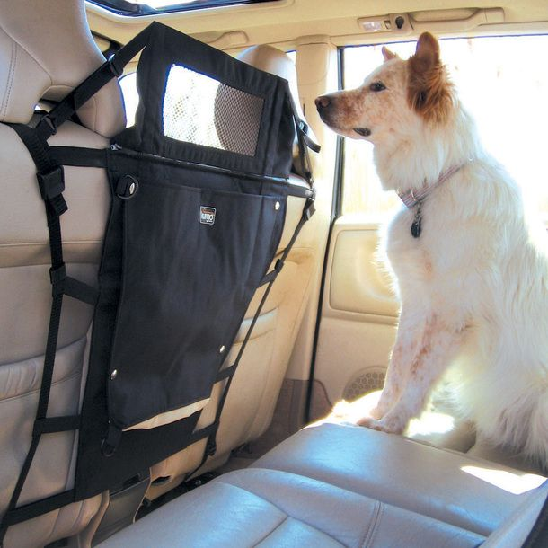 This would be great for the chihuahua! Keeps her from crawling over to the front seat, too.