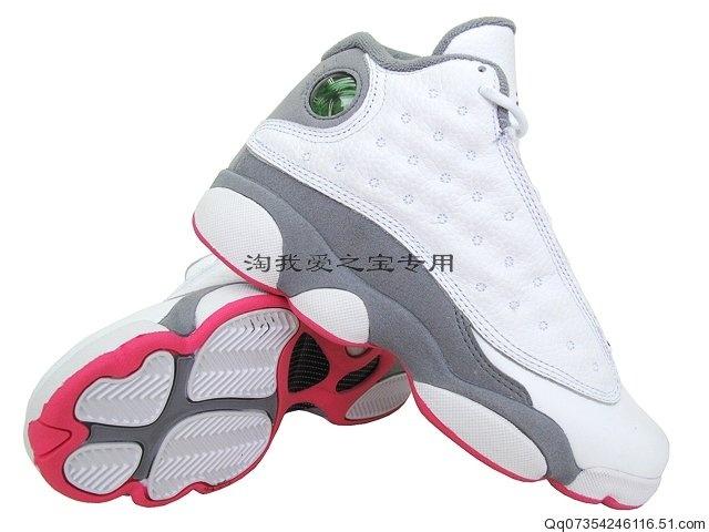 jordans 13 white grey and pink