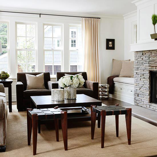 Traditional meets contemporary in this chic space. More living room design ideas:  http://www.bhg.com/rooms/living-room/makeovers/living-room-decorating-ideas/?socsrc=bhgpin072913traditional=29