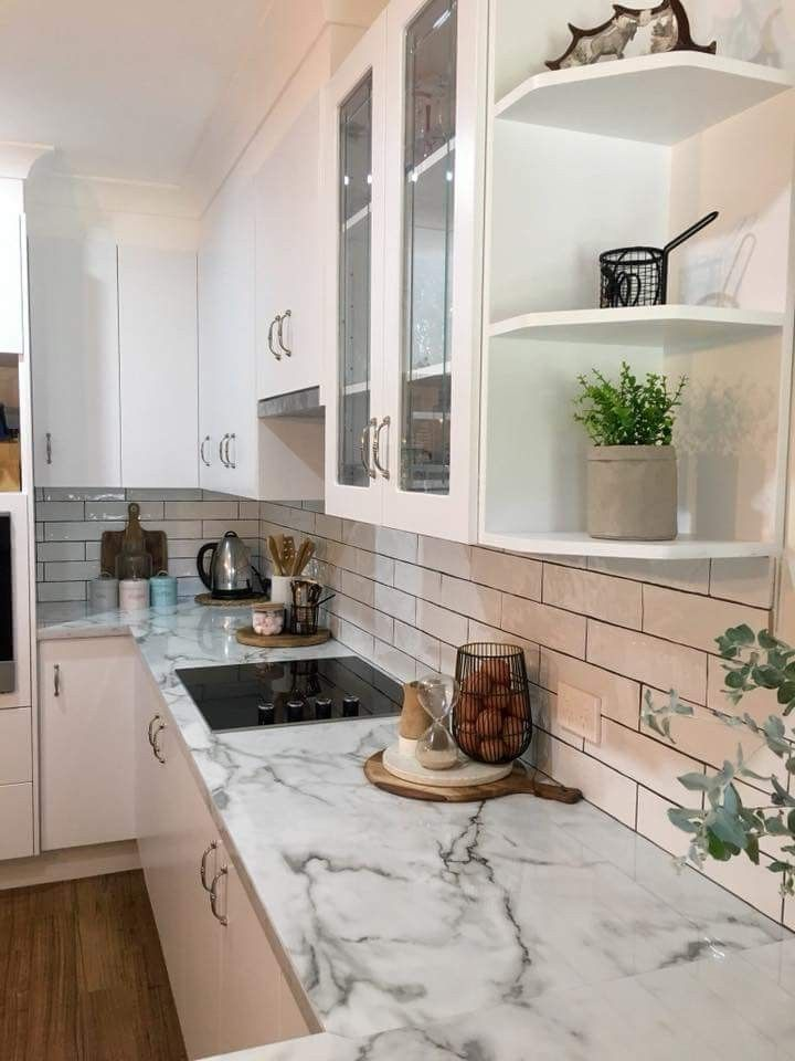 Remodeling Kitchen Bench Top It S A Laminex Diamond Gloss With Resin Edge Colour Is Carrara Marble Kitchen Marble Kitchen Remodel Kitchen
