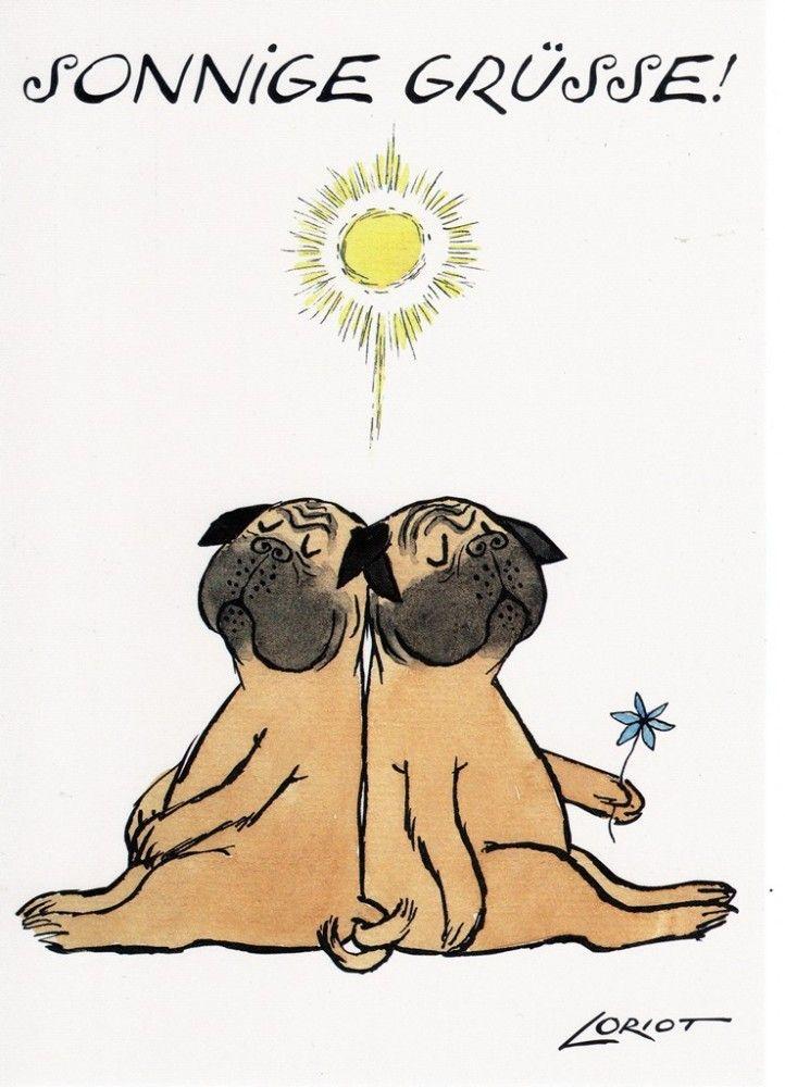 Sonnige Grüße -Loriot Humor -Postkarte