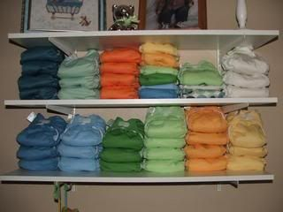 cloth diaper storage... shelves on wall