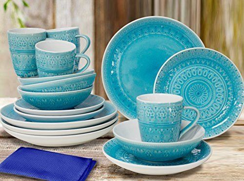 Fez 16 Piece Dinnerware Set in Turquoise by Euro Ceramica #EuroCeramica