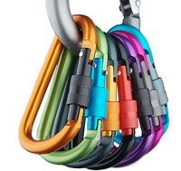 Wish | Outdoor multi colors Safety Buckle With Lock Aluminium Alloy Climbing Button Carabiner Camping Hiking Hook(random color) (Color: Black)
