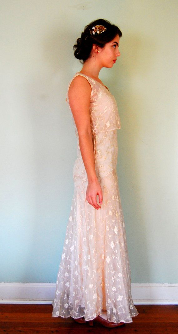 S wedding dress long white lace gown s by lisaonthemoon