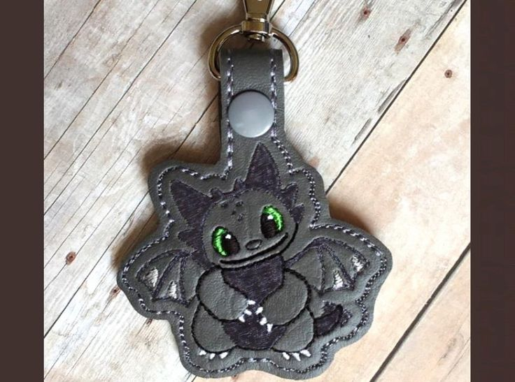 Toothless Key Fob Machine Embroidery Pattern Whimsy