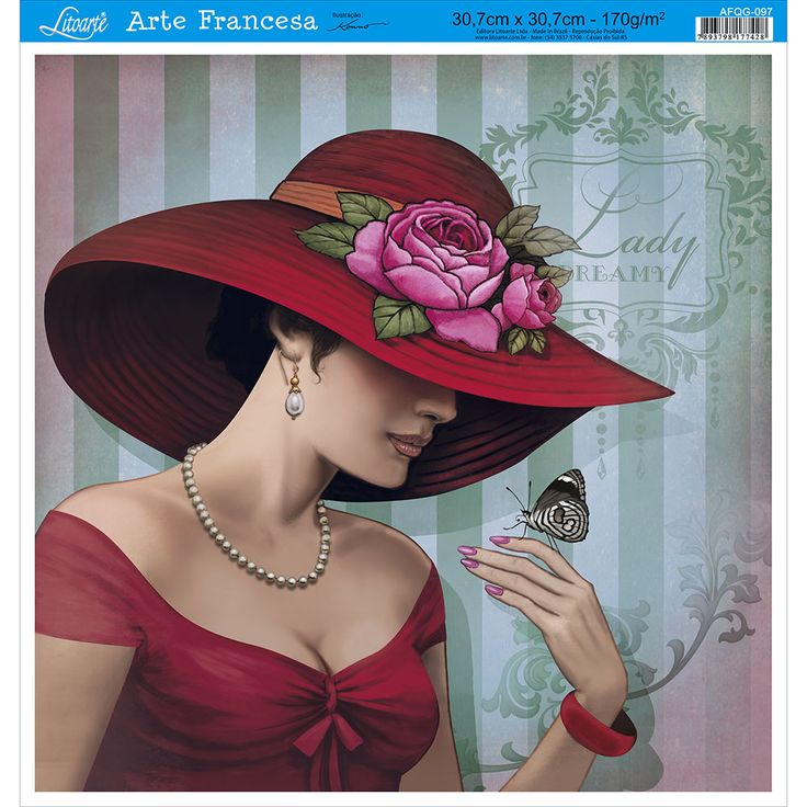 Papel para Arte Francesa Litoarte 30,7 x 30,7 cm - Modelo AFQG-097 Dama Vermelho - CasaDaArte