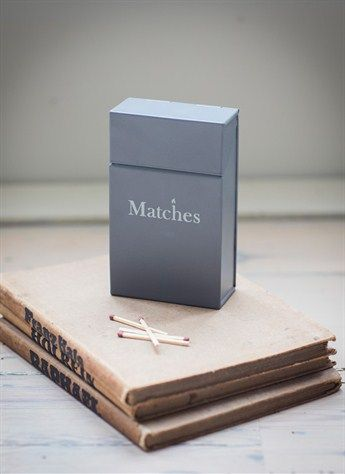 Garden Trading Match Box in Charcoal Dimensions: H13cm x W8cm x D4cm Crafted in Powder Coated Steel