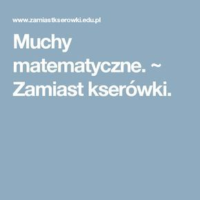 Muchy matematyczne. ~ Zamiast kserówki.