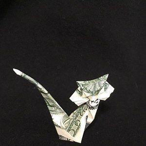 Dollar Origami Crescent MOON Face Charm Money Art Gift Folded with Crisp Real 1 Dollar Bill Birthday Gift Pin Decor Profile Face Moon Decor