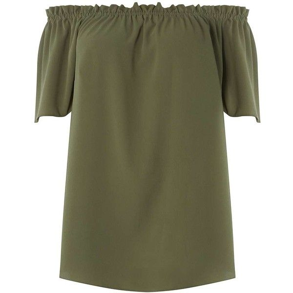 DP Curve Khaki Frill Bardot Top (160 PEN) ❤ liked on Polyvore featuring tops, frill top, green top, frilled top, flutter-sleeve tops and khaki top