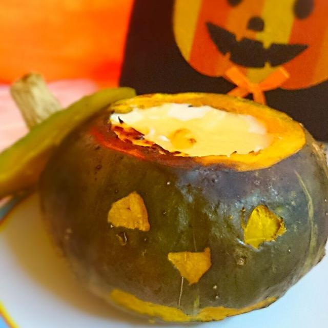 まるごと食べられる、中身はカニグラタン - 24件のもぐもぐ - ハロウィンかぼちゃのまるごとグラタン by nkumiko29