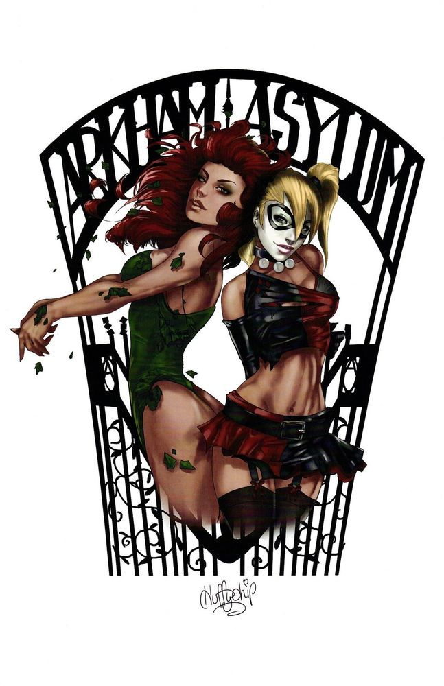 "Poison Ivy and Harley Quinn ""Arkham Asylum"" Art Print by Huffychip #FineArtPrint"