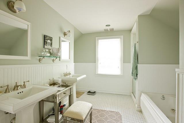 bathroom: Wall Colors, Beads Boards, Bathroom Colors, Pedestal Sinks, Green Bathroom, Bathroom Remodel, Bathroom Ideas, Classic Bathroom, Beadboard Bathroom