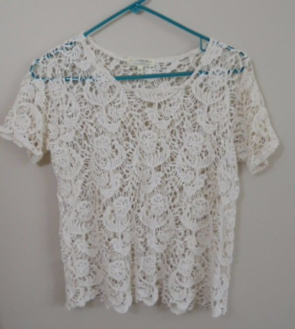 WOMEN'S IVORY LACE SHORT SLEEVE TOP - Cotton On - designed in Australia Size L #CottonOn #CropTop #Casual