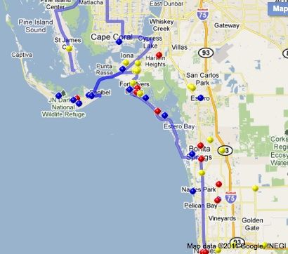 Gulf Coast places for dogs-Blue Dots, pet friendly beaches (on/off leash), pet friendly campgrounds are yellow dots.