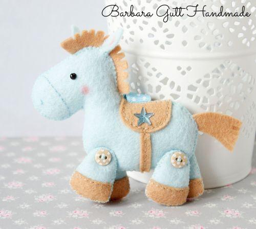cavalo azul feltro