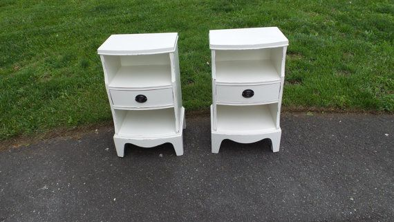 Shabby Chic Ivory Hand Distressed End Tables by ParkandWoodland