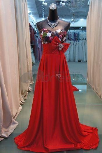 Abiti da Sera Eleganti-nuovi lunghi abiti da sera eleganti rossi paillettes
