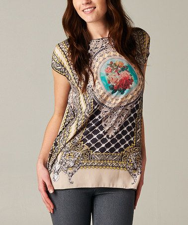 Look what I found on #zulily! Beige Scarf Print Cap-Sleeve Top by Rock Candy #zulilyfinds