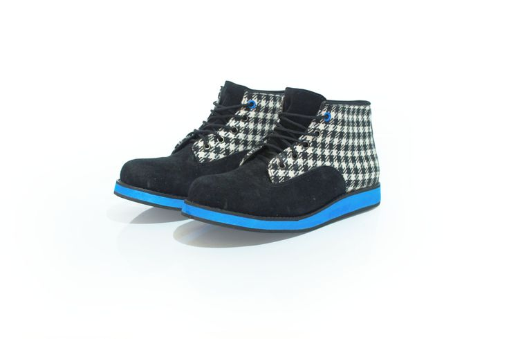 Bleu Clair  #boot #shoes #fashion #tosca #pattern #cute #handmade #angkleboot #blackandwhite #colorful #houndstooth #plaid