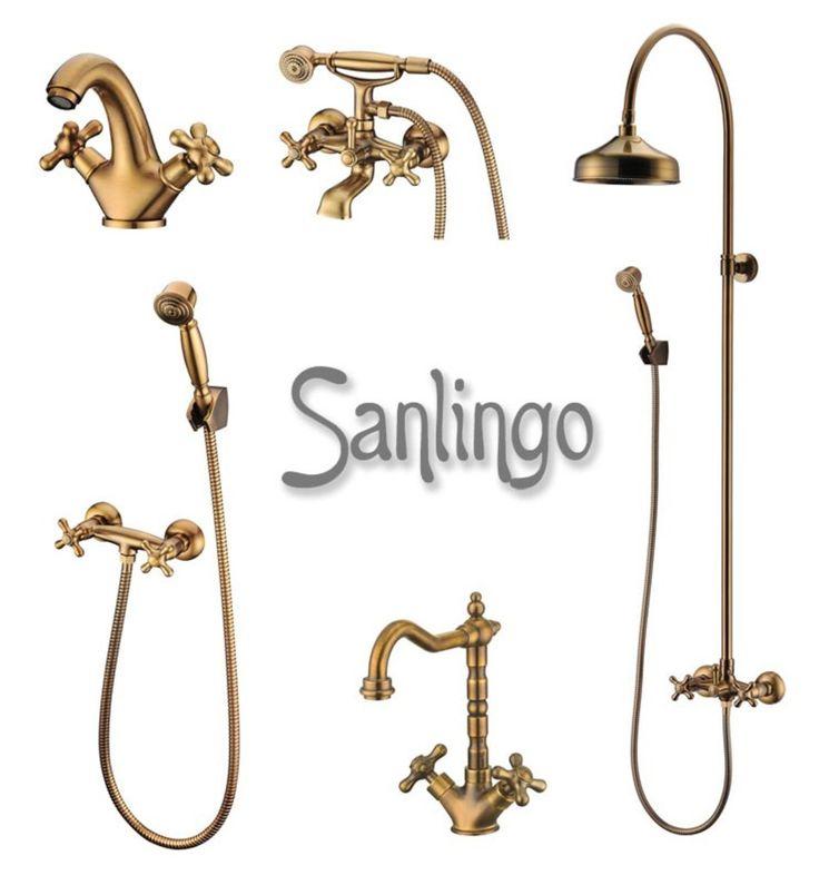 Retro Duschset Komplett Dusche Armatur Messing Sanlingo