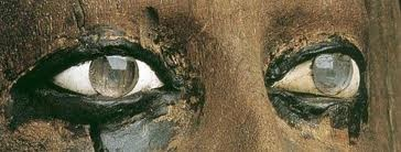 Glass eyes from an ancient Egyptian ka statue of Pharaoh Hor from the 13th dynasty. A ka statue is a type of ancient Egyptian statue intended to provide a resting place for the ka, or spirit, of the person after death.