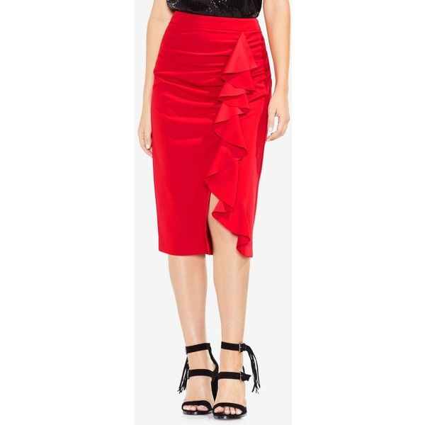 Vince Camuto Ruffled Midi Pencil Skirt ($79) ❤ liked on Polyvore featuring skirts, truecrimson, ruffle skirt, ruched pencil skirts, knee length pencil skirt, red pencil skirt and red pencil skirts
