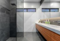 frameless shower panel and mirror vanity cupboards 2