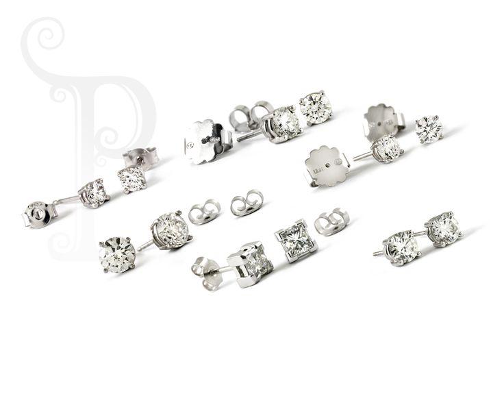 18ct White Gold Diamond Stud Earring