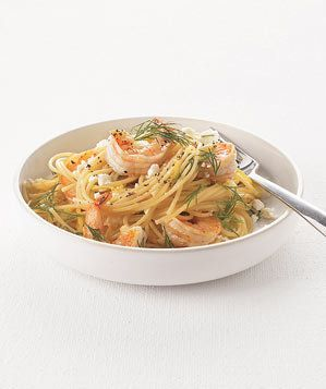 Spaghetti With Shrimp, Feta, and Dill | If boneless, skinless chicken breasts are our number-one protein, shrimp is a close runner-up. Very close. These little crustaceans cook up incredibly fast, take to a huge range of cuisines, dishes, and flavors, and—perhaps their best quality—they thaw in next to no time. Keep a bag in the freezer for those nights when you need a super quick but still generally healthy meal. We actually preferred frozen shrimp, since the fresh stuff has a short shelf…