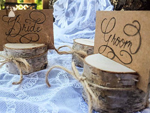 Set of 50 birch place card holders, name card holders, rustic wood card holder, shabby chic, birch card holder, 50 card holders, scandinavian card holders, rustic chic, natural card holders - Venue and reception decor (*Amazon Partner-Link)