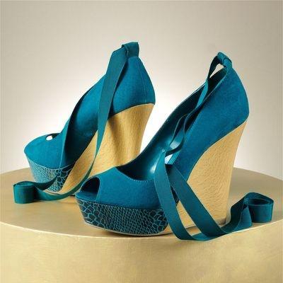 NEW Jennifer Lopez Blue Teal Aqua High Heels 6 Platforms Heel Suede Shoes Wedges on eBay!