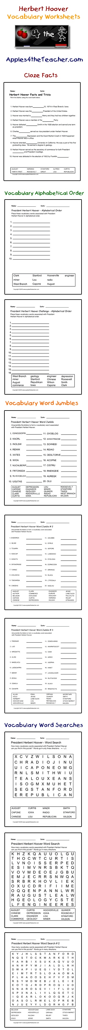 President Herbert Hoover interactive vocabulary words: cloze facts activity page, alphabetical order worksheets, word jumble worksheets and word search puzzles.