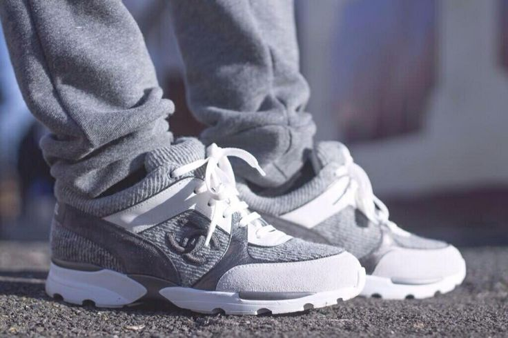 grey and white Chanel sneakers
