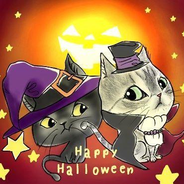 @etsu0203coro  お待たせしました!コロンちゃん&ココアちゃんハロウィン仕様♡  久々に描かせていただきました♪  濃く描くようにしましたが大丈夫ですかい?(´∀`)