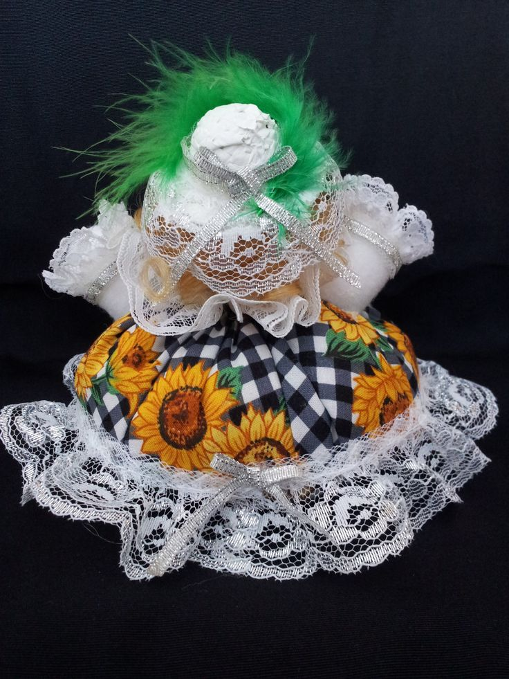 The Country Belle. Back view. Collectable Pin Cushion Doll. Material: Cotton & Lace. $25.00CAD + S/H if applicable. $0.00 Tax. Please contact Nola at: https://www.facebook.com/elegantcreationsbynola for purchase