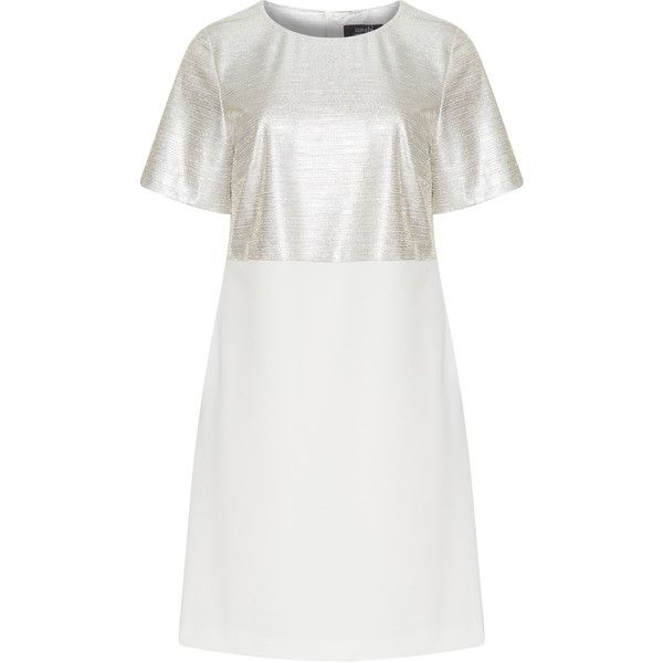 navabi Cream / Silver Plus Size Silver and white shift dress ($280) ❤ liked on Polyvore featuring dresses, cream, plus size, white shift dresses, plus size silver dresses, white dress, short-sleeve dresses and women plus size dresses
