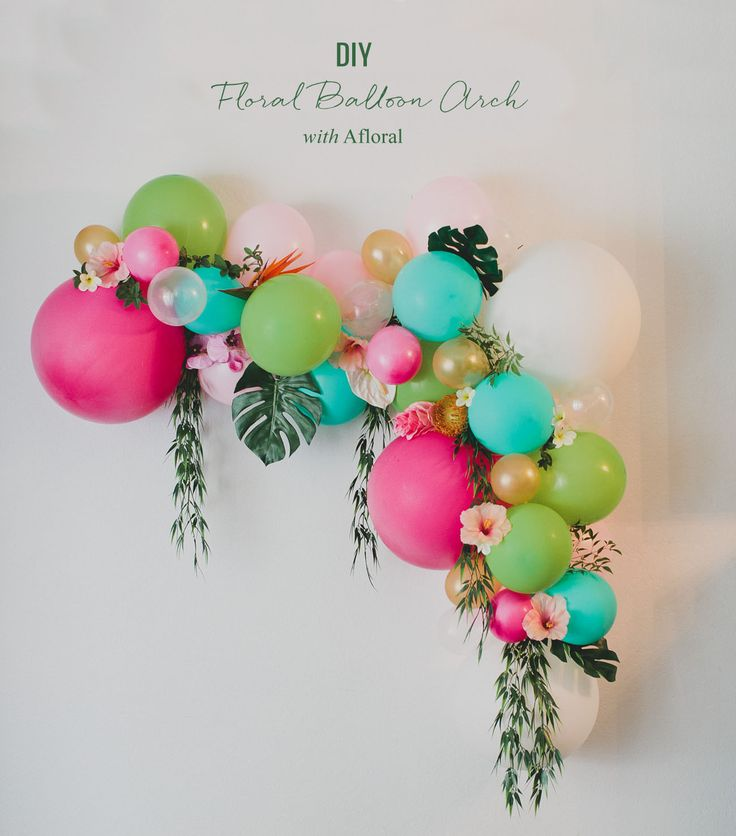 This gorgeous and colorful ballon arch is easy and affordable! Mix in florals + leaves for added elegance. Fancy Halloween or Fall <em>decoration</em> inspired decor? Change out the bright pink, turquoise and lime hues for merlot, burgundy, dark orange, rust, black and purple!