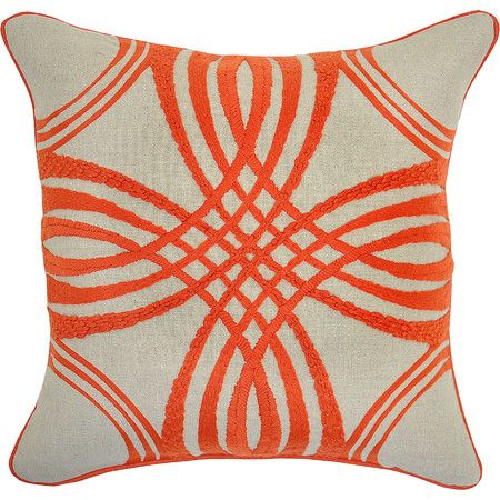 A stylish finishing touch for your favorite arm chair or living room sofa, this lovely coir pillow showcases an eye-catching embroidered design.