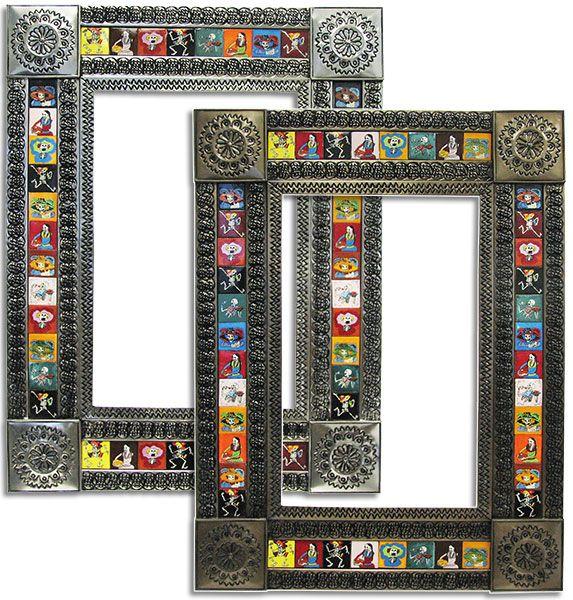 Talavera Tile Mirror w/ Day of the Dead Designs