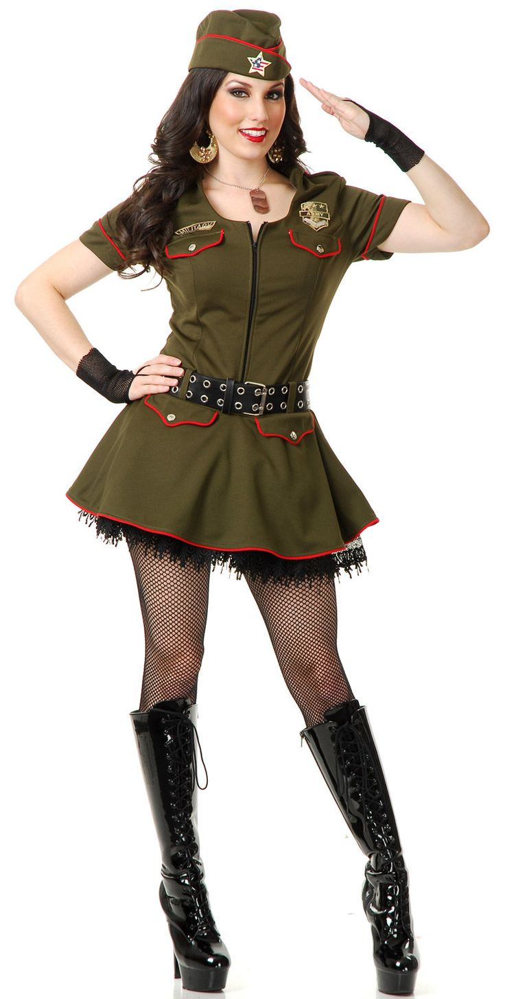 sargent sweetie adult sexy army sargeant military pin up girl halloween costume - Halloween Army Costumes