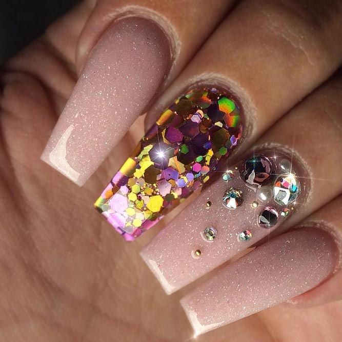 Natural Colored Coffin Nails